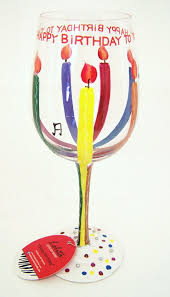 happy glass painted happy birthday wine glass by s