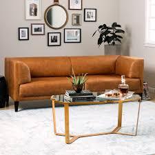 tribecca home uptown dark brown faux leather modern sofa best