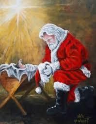 santa and baby jesus to god manger santa and baby jesus christmas card graphic