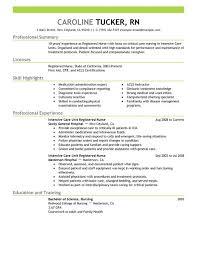 Sample Resume For A Registered Nurse by Sample Nursing Resume Intensive Care Unit Registered Nurse Resume