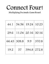 multiplying decimals connect four multiplying decimals i used this activity for