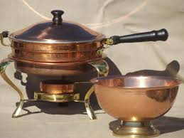 vintage copper u0026 brass buffet serving set chafing dish u0026 large bowl