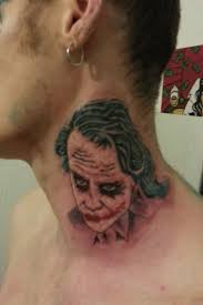men show simple joker head tattoo design image make on neck
