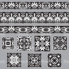 set collections of ornaments antique borders and tiles