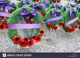 poppy wreaths laid at a war memorial in canada vancouver bc canada