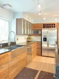 modern kitchen red kitchen red oak wood dark roast glass panel door modern kitchen