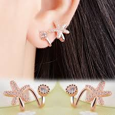 left side earring earring left and right side rhinestones starfish new arrival sea