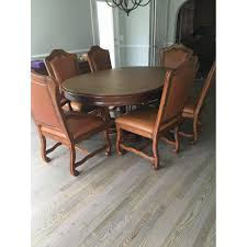 stanley furniture dining room stanley furniture oval dining table w 6 leather chairs aptdeco