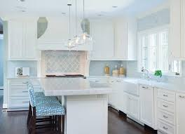 blue tile kitchen backsplash turquoise arabesque tile backsplash transitional kitchen homes