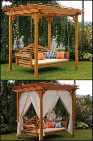 enhance your outdoor space with this cedar swing bed and pergola