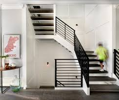 White Wall Paneling by Staircase Wall Sconces Staircase Farmhouse With Open Staircase