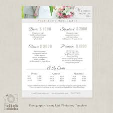 wedding photography pricing wedding photography package pricing list template