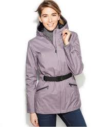 the north face ophelia belted jacket in gray lyst