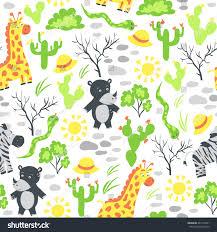 safari cartoon seamless pattern cartoon safari animals plants stock vector