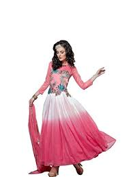 pink colour combination dresses dev fashion net gown dress material in pink and white colour