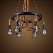 Burlap Chandelier Industrial 6 Light Wire Cage Rope Led Chandelier With 30 Wide