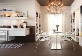 White Kitchen Brick Tiles - modern white kitchen chandelier brick tiles interior design ideas