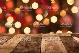 tree lights wooden table copyspace stock