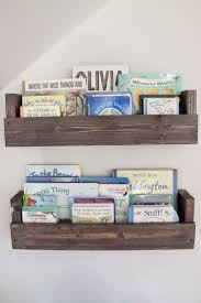 best 25 hanging bookshelves ideas on pinterest handmade project nursery diy nursery shelves stained gray could we make these or something similar but just shelves not a box