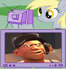Know Your Meme Derp - derpy watches derp scout on tv from another parallel universe my