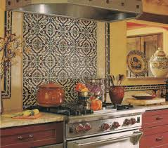 Kitchen Mural Backsplash Spanish Tile Backsplash Terra Cotta Ish Tile Granite Counter Tops