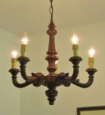 Antique Wood Chandelier Antique Vintage French Carved Wooden 4 Light Chandelier Gothic