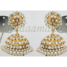 kerala style jhumka earrings white pearls and stones jhumkis jhumka traditional south india