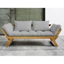 canapé convertible matelas canapé convertible en bois miel avec matelas futon bebop gris