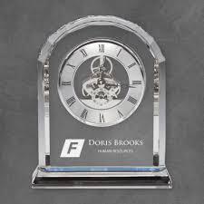 beveled edge personalized crystal desk clock