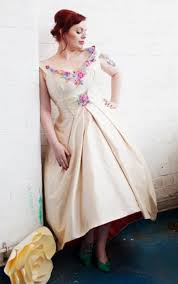 cream floral v neck plus size tea length wedding dress stunning