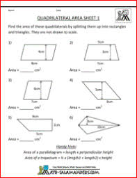 quadrilateral area worksheet fifth grade geometry worksheet