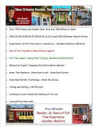 Resume Of A Real Estate Agent Eric U0027s New Orleans Real Estate Resume