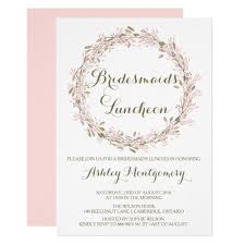 bridesmaids luncheon invitation blush winter wreath bridesmaids luncheon invite zazzle