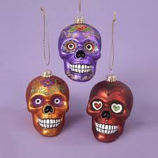 glass skull ornament set of 3 my sugar skulls