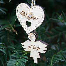 personalised wooden in memory star christmas tree decoration
