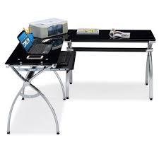 Techni Mobili L Shaped Glass Computer Desk With Chrome Frame Techni Mobili Hip Black Glass Corner Computer Desk