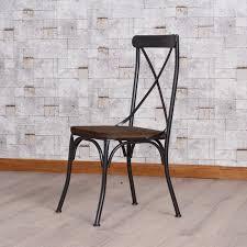 Chaise Industrielle Métal Noir Antique Déco Industrielle Chaise Khi Métal Bois Style Retro Design Luxe Noir