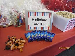 sport themed baby shower halftime snack table for a boy sports themed baby shower
