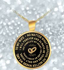 gold round necklace images Valentines day necklace to my wife gold round pendant uncle png