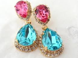 turquoise bridal earrings pink and turquoise chandelier earrings pink and teal bridal