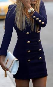 navy blue plain double breasted v neck long sleeve mini dress