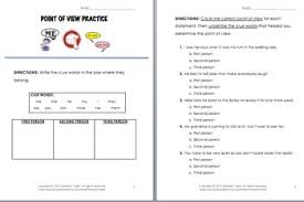 of view printable flipbook and practice worksheet with answer key