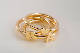 custom initial rings three golden letter rings initial stacking rings custom made
