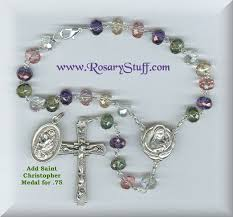 car rosary gemstone multi colored st therese relic car rosary