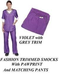 hair fashion smocks purple fashion trim smock pant groomer grooming hair water stain