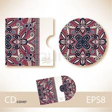 cd cover design template with ukrainian ethnic style ornament for