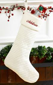 personalized christmas stocking quilted soft cotton ivory