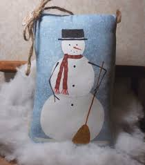 primitive folk art christmas winter pillow tuck wall hanger