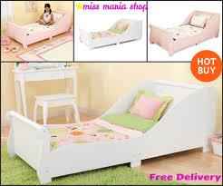 Kids Bedroom Furniture Girls Single Bed White Pink Sleigh Toddlers Kids Bedroom Furniture