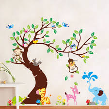 animals tree monkey removable wall decal stickers kids baby animals tree monkey removable wall decal stickers kids baby nursery room decor ebay